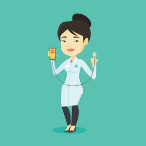 Asian doctor showing application for checking heart rate pulse. Young doctor holding smartphone with application for measuring of heart rate pulse. Vector flat design illustration. Square layout.