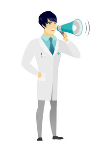 Asian doctor with a loudspeaker making an announcement. Full length of doctor in medical gown making an announcement through a loudspeaker. Vector flat design illustration isolated on white background