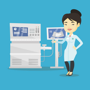 Asian doctor with ultrasound scanner in hand. Operator of ultrasound scanning machine analyzing liver of patient. Doctor working on ultrasound equipment. Vector flat design illustration. Square layout