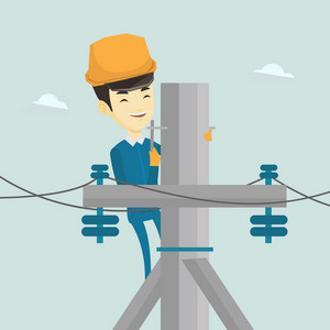 Asian electrician in hard hat working on electric power pole. Electrician at work on electric power pole. Electrician repairing electric power pole. Vector flat design illustration. Square layout.