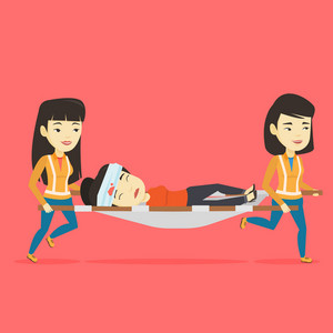Asian emergency doctors transporting victim after accident on the stretcher. Team of emergency doctors carrying injured woman on medical stretcher. Vector flat design illustration. Square layout.