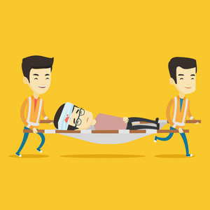 Asian emergency doctors transporting victim after accident on the stretcher. Team of emergency doctors carrying injured young man on medical stretcher. Vector flat design illustration. Square layout.