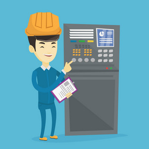 Asian engineer with clipboard standing in front of the control panel. Man working on control panel. Young worker pressing button at control panel. Vector flat design illustration. Square layout.