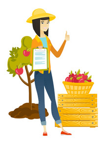 Asian farmer holding business papers and giving thumb up on the background of tree and basket of apples. Farmer showing business papers. Vector flat design illustration isolated on white background.