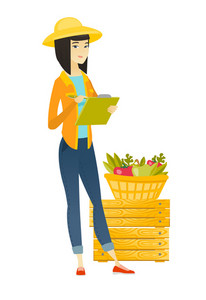 Asian farmer holding clipboard and taking some notes on the background of basket with fruits and vegetables. Farmer writing on clipboard. Vector flat design illustration isolated on white background.