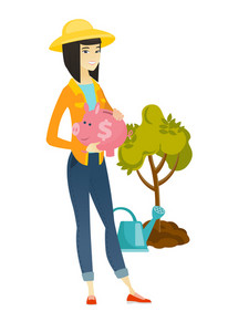 Asian farmer holding piggy bank with dollar sign on the background of tree and watering can. Full length of young farmer with piggy bank. Vector flat design illustration isolated on white background.