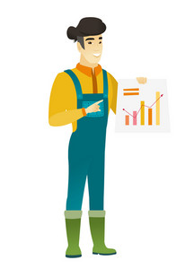 Asian farmer in coveralls giving presentation and showing financial chart. Full length of young happy farmer pointing at financial chart. Vector flat design illustration isolated on white background.