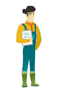Asian farmer in coveralls holding a clipboard with documents. Full length of young farmer with documents. Farmer holding documents. Vector flat design illustration isolated on white background.