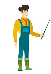 Asian farmer in coveralls holding a pointer stick. Full length of young farmer with pointer stick. Farmer pointing with pointer stick. Vector flat design illustration isolated on white background.