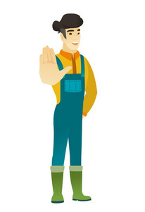 Asian farmer in coveralls showing palm hand. Full length of young farmer showing palm hand. Farmer making stop gesture by his palm. Vector flat design illustration isolated on white background.