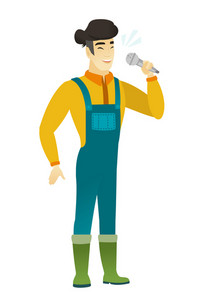 Asian farmer in coveralls singing to the microphone. Full length of farmer singing with closed eyes. Happy farmer singing to the mic. Vector flat design illustration isolated on white background.