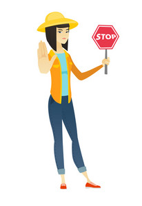 Asian farmer in summer hat showing stop road sign. Full length of young farmer holding stop road sign. Serious farmer with stop road sign. Vector flat design illustration isolated on white background.