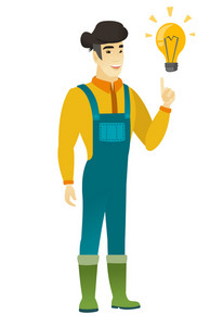 Asian farmer pointing at bright idea light bulb. Full length of young farmer having a creative idea. Farmer came up with a great idea. Vector flat design illustration isolated on white background.
