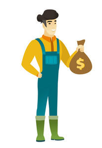 Asian farmer showing money bag with dollar sign. Full length of young farmer with money bag. Farmer in coveralls holding a money bag. Vector flat design illustration isolated on white background.