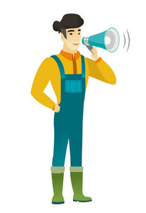 Asian farmer with a loudspeaker making an announcement. Full length of farmer in coveralls making an announcement through a loudspeaker. Vector flat design illustration isolated on white background.