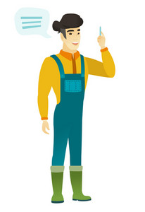 Asian farmer with speech bubble. Farmer in coveralls giving a speech on conference. Farmer with speech bubble coming out of his head. Vector flat design illustration isolated on white background.