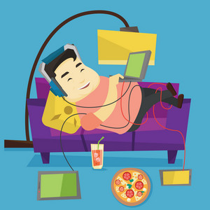 Asian fat man relaxing on a sofa with many gadgets. Young man lying on a sofa surrounded by gadgets and fast food. Plump man using many gadgets at home. Vector flat design illustration. Square layout.