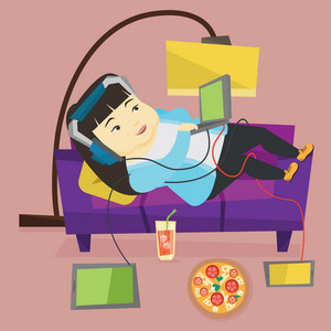 Asian fat woman relaxing on a sofa with many gadgets. Woman lying on a sofa surrounded by gadgets and fast food. Plump woman using many gadgets at home. Vector flat design illustration. Square layout.