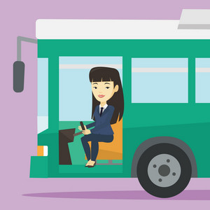 Asian female bus driver sitting at steering wheel. Young female driver driving passenger bus. Female bus driver sitting in drivers seat in cab. Vector flat design illustration. Square layout.