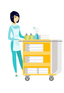 Asian female chambermaid pushing cart with bed clothes. Full length of young chambermaid with trolley with linen. Hotel room service. Vector flat design illustration isolated on white background.