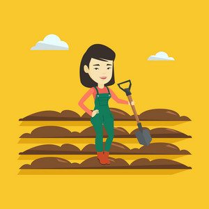 Asian female farmer standing with shovel on the background of plowed field. Woman working in field with a shovel. Woman plowing field with a shovel. Vector flat design illustration. Square layout.