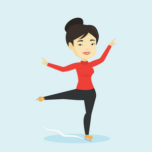 Asian female figure skater posing on skates. Professional female figure skater performing on ice skating rink. Young ice skater dancing. Vector flat design illustration. Square layout.