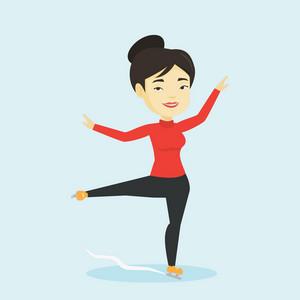 Asian female figure skater posing on skates. Professional female figure skater performing on ice skating rink. Young ice skater dancing. Vector flat design illustration. Square layout.