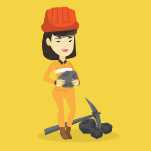 Asian female miner in hard hat holding coal in hands. Young smiling miner with a pickaxe. Miner working at coal mine. Young happy female miner at work. Vector flat design illustration. Square layout.