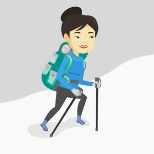 Asian female mountaineer climbing a snowy ridge. Young happy mountaineer climbing a mountain. Female mountaineer with backpack walking up along a ridge. Vector flat design illustration. Square layout.