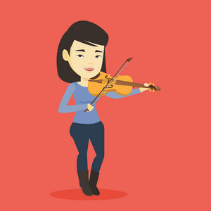 Asian female musician standing with violin. Young smiling musician playing violin. Cheerful violinist playing classical music on violin. Vector flat design illustration. Square layout.