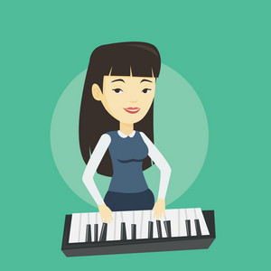 Asian female pianist playing on synthesizer. Young smiling musician playing piano. Pianist playing upright piano. Vector flat design illustration. Square layout.