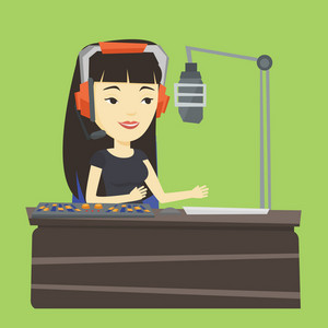 Asian female radio dj in headset working on a radio station. Female radio dj working in front of microphone, computer and mixing console on radio. Vector flat design illustration. Square layout.