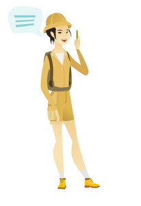 Asian female traveler with speech bubble. Young traveler giving a speech. Traveler with speech bubble coming out of her head. Vector flat design illustration isolated on white background.