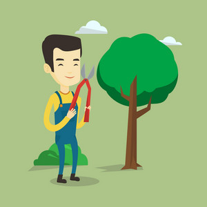 Asian gardener holding pruner. Young gardener is going to trim branches of a tree with pruner. Smiling gardener working in the garden with pruner. Vector flat design illustration. Square layout.