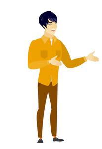 Asian  happy business man gesturing. Full length of cheerful business man gesturing with his hands. Businessman laughing and gesturing. Vector flat design illustration isolated on white background.