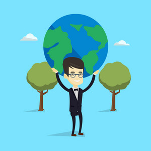 Asian happy business man holding big Earth globe over his head. Young business man taking part in global business. Concept of global business. Vector flat design illustration. Square layout.