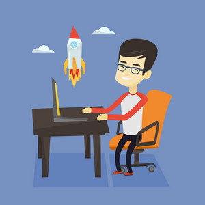 Asian happy businessman looking at business start up rocket. Young cheerful businessman working on a new business start up. Business start up concept. Vector flat design illustration. Square layout.