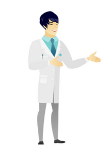 Asian happy doctor in medical gown gesturing. Full length of cheerful doctor gesturing with his hands. Doctor laughing and gesturing. Vector flat design illustration isolated on white background.