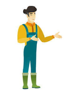 Asian happy farmer in coveralls gesturing. Full length of cheerful farmer gesturing with his hands. Young farmer laughing and gesturing. Vector flat design illustration isolated on white background.