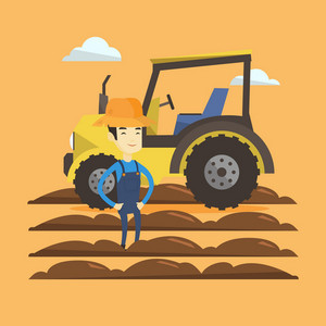 Asian happy farmer in summer hat standing on the background of tractor preparing land. Young smiling farmer standing in field in front of tractor. Vector flat design illustration. Square layout.