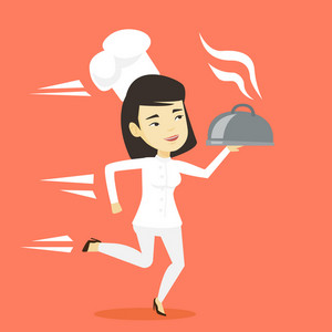 Asian happy female chef cook in a cap and white uniform running. Cheerful chef cook holding a cloche. Smiling chef cook fast running with a cloche. Vector flat design illustration. Square layout.