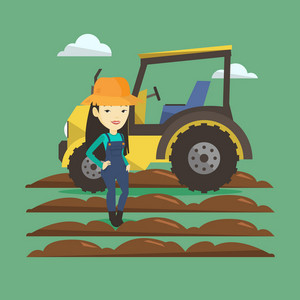 Asian happy female farmer in summer hat standing on the background of tractor preparing land. Young smiling farmer standing in front of tractor. Vector flat design illustration. Square layout.
