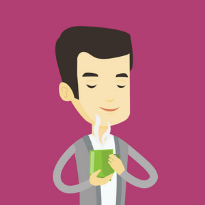Asian happy man drinking hot flavored coffee. Young smiling man holding cup of coffee with steam. Man with his eyes closed enjoying fresh coffee. Vector flat design illustration. Square layout.