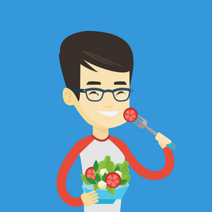 Asian happy man eating healthy vegetable salad. Young man enjoying fresh vegetable salad. Man holding fork and bowl with healthy vegetable salad. Vector flat design illustration. Square layout.