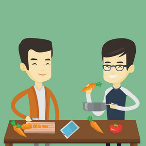 Asian happy men cooking healthy vegetable meal. Friends having fun cooking together healthy meal. Young smiling friends preparing vegetable meal. Vector flat design illustration. Square layout.