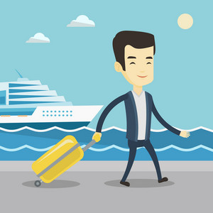 Asian happy passenger walking on the background of cruise liner. Smiling young passenger with suitcase going to cruise liner at the pier station. Vector flat design illustration. Square layout.