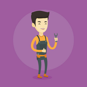 Asian happy repairman giving thumb up. Young smiling repairman standing with a spanner in hand. Smiling repairman in overalls holding a spanner. Vector flat design illustration. Square layout.