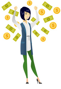 Asian happy successful business woman standing with raised hands under money rain. Young excited business woman enjoying a rain of money. Vector flat design illustration isolated on white background.