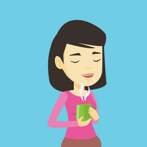 Asian happy Woman drinking hot flavored coffee. Young smiling woman holding cup of coffee with steam. Woman with her eyes closed enjoying fresh coffee. Vector flat design illustration. Square layout.