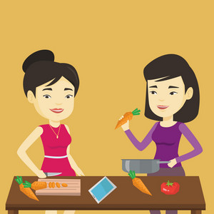 Asian happy women cooking healthy vegetable meal. Friends having fun cooking together healthy meal. Young smiling friends preparing vegetable meal. Vector flat design illustration. Square layout.